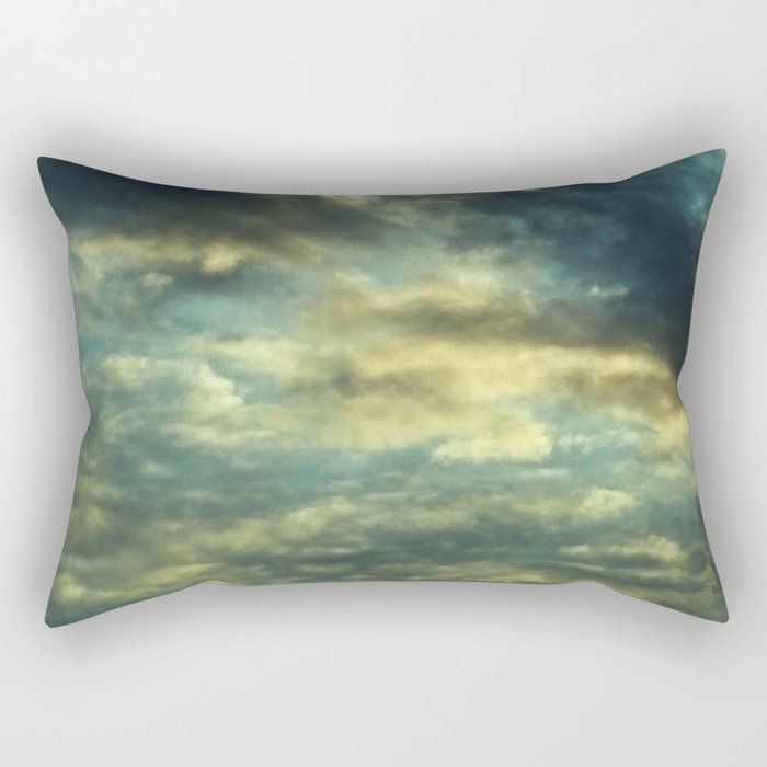 Cloudy Gray Blue Sky Vintage Rectangular Pillow