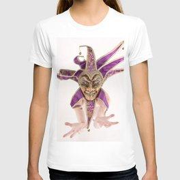 1387s-MM Jester Mask on a Implied Nude Fine Art Model T-shirt