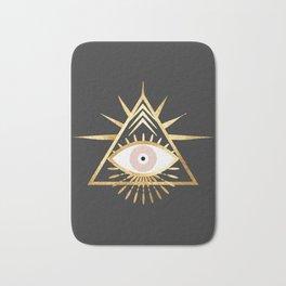 gold foil triangle evil eye Bath Mat