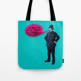 """""""What's All This, Then?"""" Vintage Bobby Print Tote Bag"""