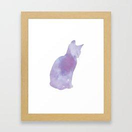 Watercolour silhouette cat - purple Framed Art Print