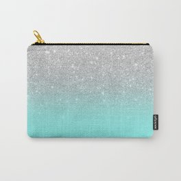 Modern girly faux silver glitter ombre teal ocean color bock Carry-All Pouch