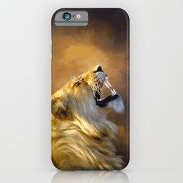 Roaring lion portrait iPhone Case