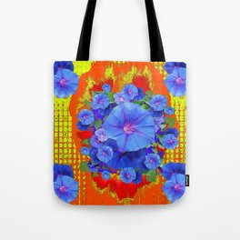 BLUE MORNING GLORIES YELLOW-ORANGE  PATTERN Tote Bag