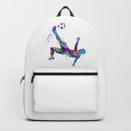 Bicycle Kick Soccer Boy Art Watercolor Gift Backpack