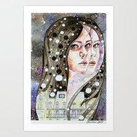 nightmare Art Prints featuring Nightmare by Veronika Weroni Vajdová