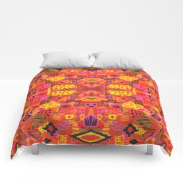 Boho Patchwork in Warm Tones Comforters