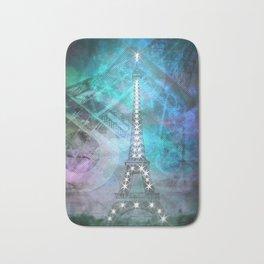 Illuminated Pop Art Eiffel Tower | Graphic Style Bath Mat