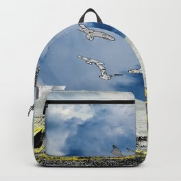 silver ships and golden dock Backpack
