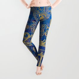 Mexican gold on blue Leggings