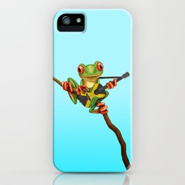 Tree Frog Playing Acoustic Guitar with Flag of Jamaica iPhone Case