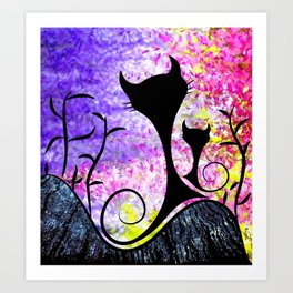 Messemios - black cats Art Print