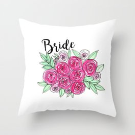 Bride Wedding Pink Roses Watercolor Throw Pillow