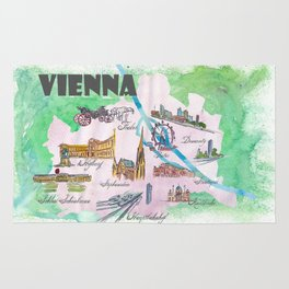 Vienna Favorite Travel Poster Map with touristic Top Ten Highlights Rug