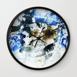 Blue, brown and black abstract Wall Clock