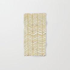 Gold Herringbone Hand & Bath Towel
