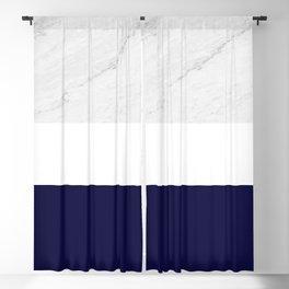 Marble White Royal Blue Blackout Curtain