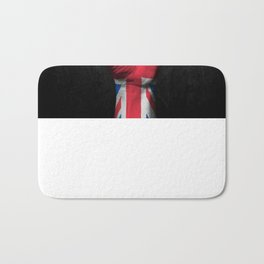 Union Jack Flag of The United Kingdom on a Raised Clenched Fist Bath Mat