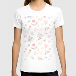 Modern pastel pink blue coral rustic floral pattern T-shirt