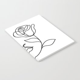 Beauty woman face with rose. Abstract minimal fine art. One line drawing. Notebook