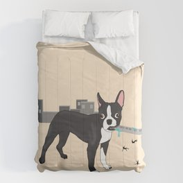 Attack of the Colossal Boston Terrier!!! Comforters
