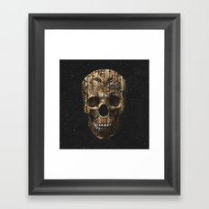 Vintage American Tattoo Skull Wood Stripes Texture Framed Art Print