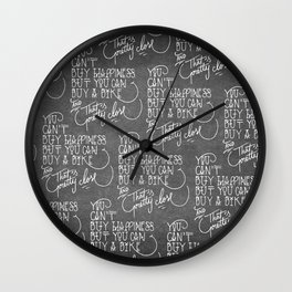 You can't buy happiness - small type Wall Clock