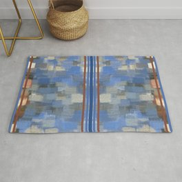 Blue Lagoon Calm Striped Abstract Rug