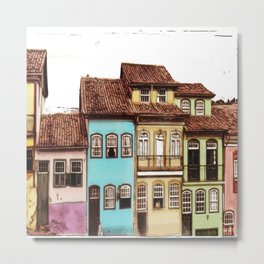 Simple and colorful houses - Antique Metal Print