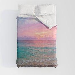 Aerial Photography Beautiful: Turquoise Sunset Relaxing, Peaceful, Coastal Seashore Comforters
