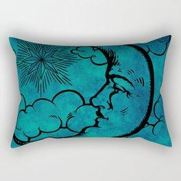 Moon vintage blue marine Rectangular Pillow