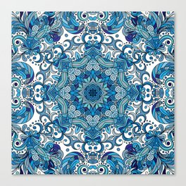 Blue Boho Mandela Pattern Canvas Print