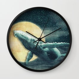 Fantasy Humpback Whale Flying to The Moon Wall Clock