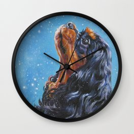 Beautiful black and tan Cavalier King Charles Spaniel Fine Art Dog Painting by L.A.Shepard Wall Clock