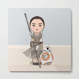 Kokeshis Rey and cute droid Metal Print