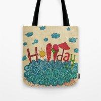 holiday Tote Bags featuring Holiday by ezgi karaata
