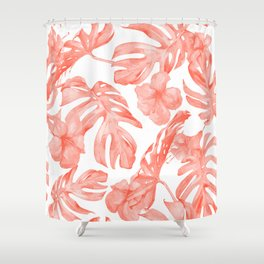 Tropical Hibiscus and Palm Leaves Dark Coral White Shower Curtain
