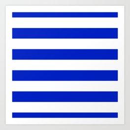 Cobalt Blue and White Wide Cabana Tent Stripe Art Print