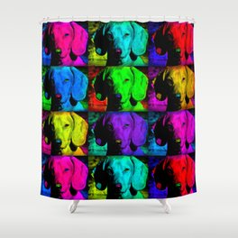 Colorful Pop Art Dachshund Doxie Face Closeup Tiled Image Shower Curtain