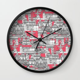 Paris toile strawberry pink Wall Clock