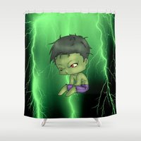 chibi Shower Curtains featuring Chibi Hulk by artwaste