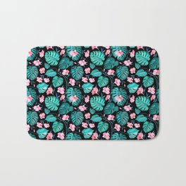 Tropical teal pink black vector floral pattern Bath Mat