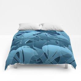 Blue Abstract Mayhem Comforters