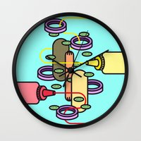 hot dog Wall Clocks featuring Hot dog by Jan Luzar
