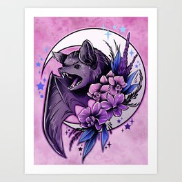 Bat and Orchids Art Print