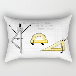 Geometry yoga class fun cartoon Rectangular Pillow