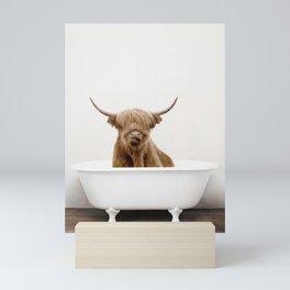 Highland Scotland Cow, Shower Time Mini Art Print