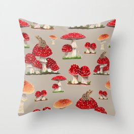 Mushrooms and Spring Peepers Throw Pillow