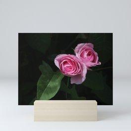 Pink and Dark Green Roses on Black Mini Art Print