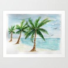 watercolor palm Art Print